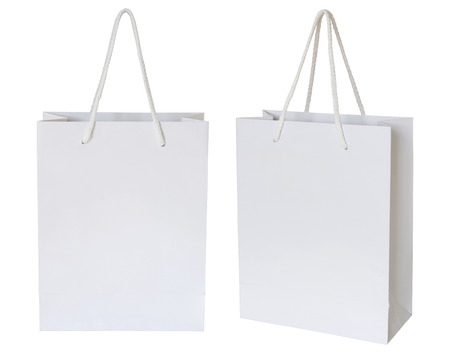 white paper bag isolated on white