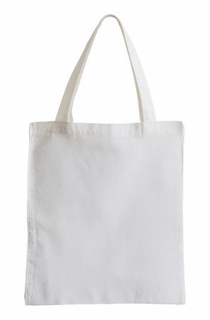 sac de tissu blanc isolé sur blanc