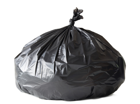 black plastic garbage bag: Garbage bag isolated on white  Stock Photo