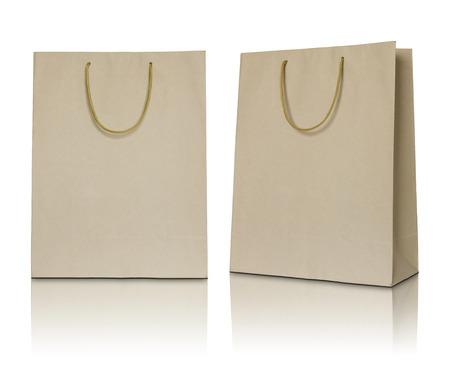 white paper bag: Brown paper bag on white background