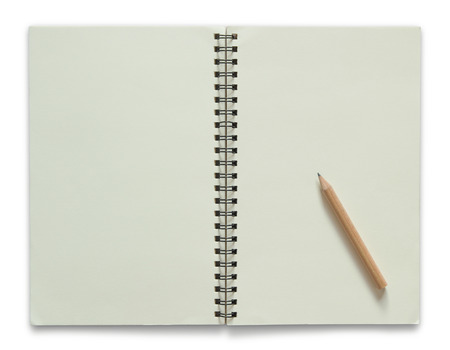 spiral notebook: blank spiral notebook and pencil isolated on white background