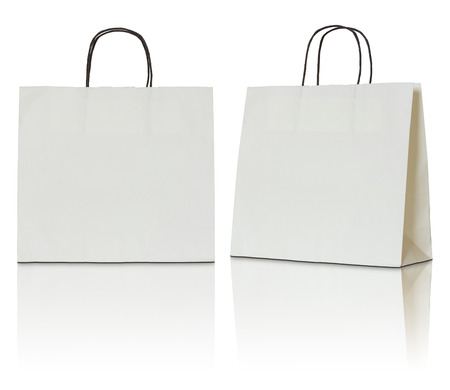 handle: paper bag on white background