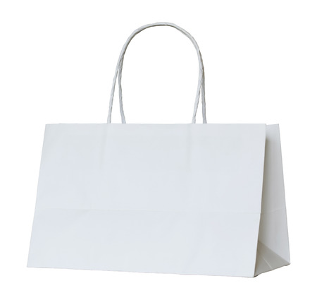 white paper bag isolated on white with clipping path 스톡 콘텐츠