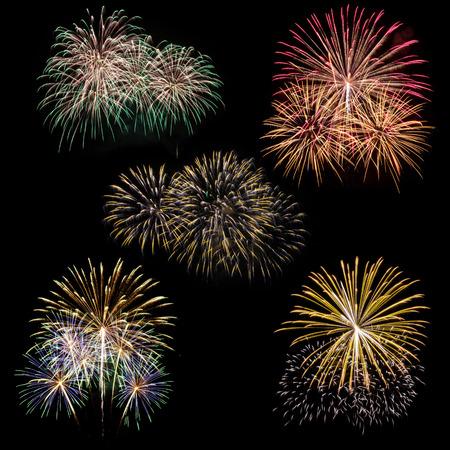 set of fireworks isolated on black background photo