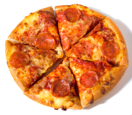 pepperoni pizza: Pepperoni pizza on white background