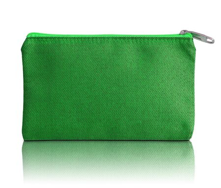 green fabric bag with zipper on white background photo