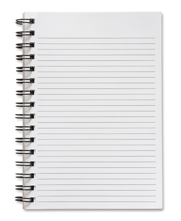 blank spiral notebook isolated on white background photo