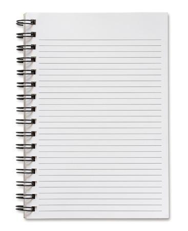 blank spiral notebook isolated on white background Standard-Bild