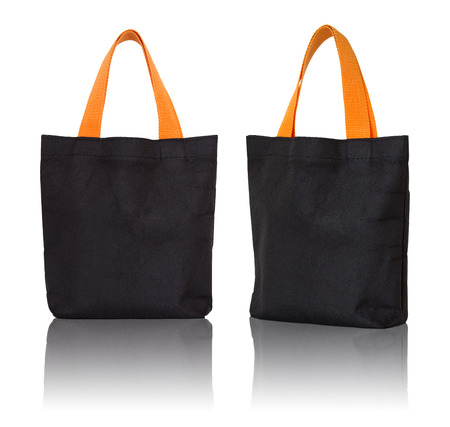 fabric bag: black fabric bag on white background
