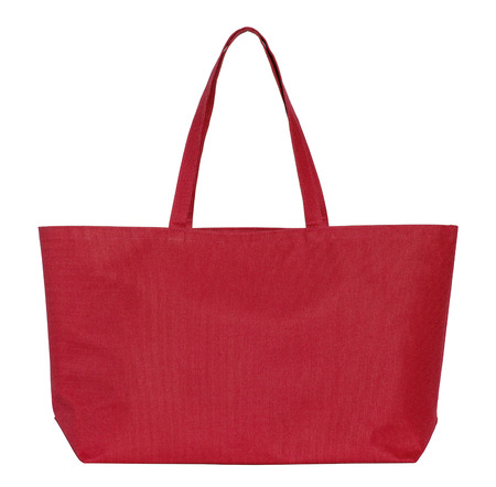 fabric bag: red fabric bag isolated on white with clipping path