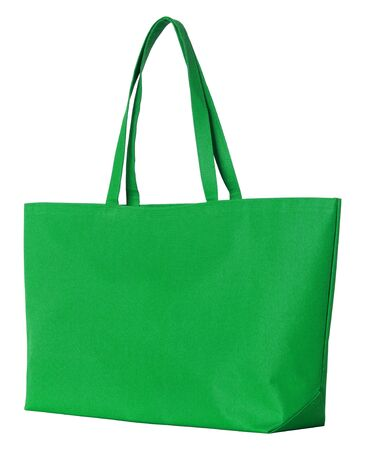 fabric bag: green fabric bag isolated on white with clipping path Stock Photo