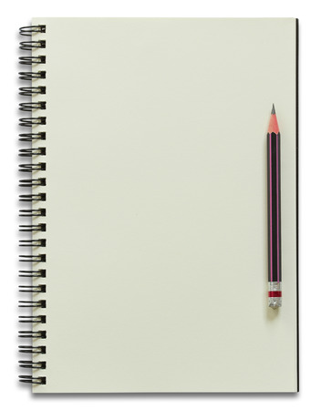 spiral book: spiral notebook and pencil isolated on white Stock Photo