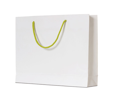 white paper: white paper bag isolated on white with clipping path Stock Photo