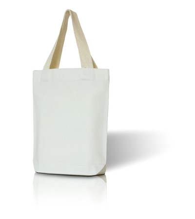 fabric bag: white fabric bag on white background Stock Photo