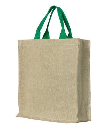 reciclar: bolsa de tela ecol�gica aislado en blanco con trazado de recorte