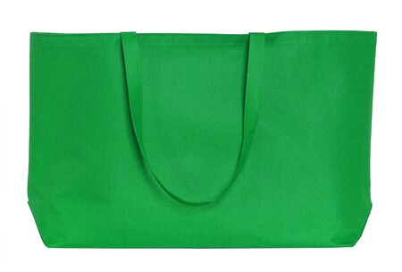 fabric bag: green shopping bag isolated on white with clipping path Stock Photo