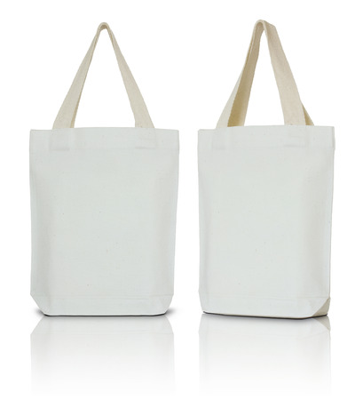 canvas: white fabric bag on white background Stock Photo
