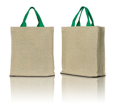 linen fabric: eco fabric bag on white background
