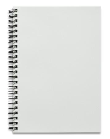 blank white spiral notebook isolated on white Standard-Bild