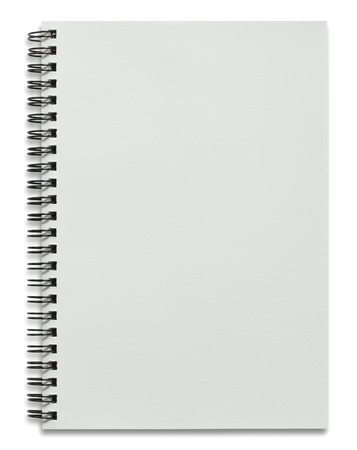 blank white spiral notebook isolated on white Stockfoto