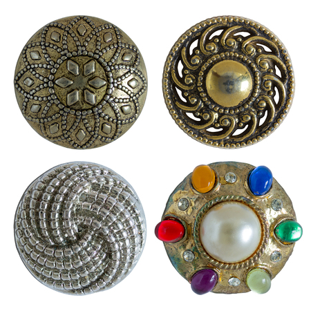 button: Various sewing buttons isolated on white with clipping path Stock Photo