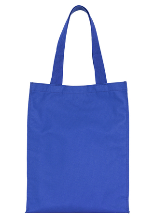 fabric bag: blue shopping fabric bag isolated on white with clipping path Stock Photo