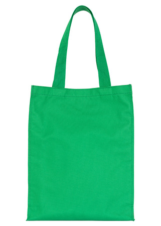 green shopping fabric bag isolated on white with clipping path