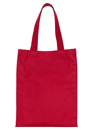 fabric bag: red shopping fabric bag isolated on white with clipping path