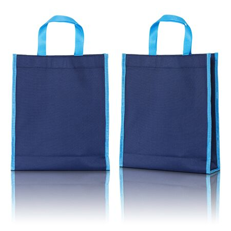 business cloth: blue shopping bag on white background