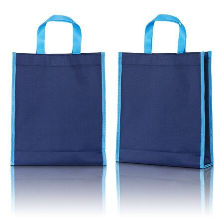 hessian bag: blue shopping bag on white background