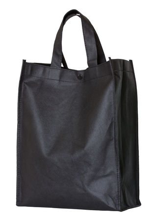 reusable: black reusable shopping bag isolated on white with clipping path