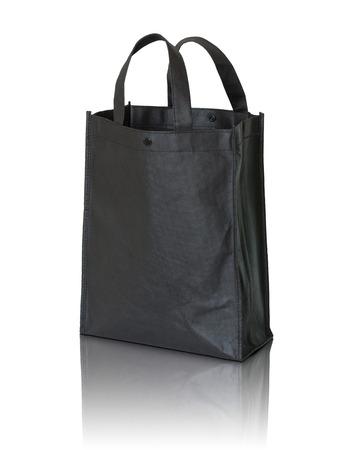 fabric bag: black shopping bag on white background