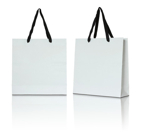 gift bags: white paper bag on white background