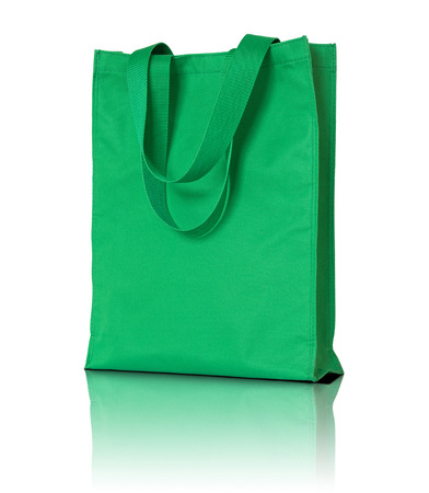 fabric bag: green shopping fabric bag on white background