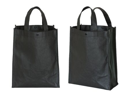 black shopping bag isolated on white with clipping path