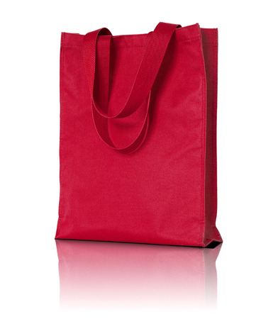 fabric bag: red shopping fabric bag on white background Stock Photo