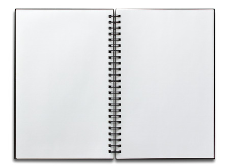 notebook: open spiral notebook isolated on white