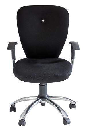silla: silla de oficina negro aislado en blanco con trazado de recorte