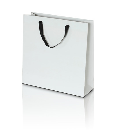 to white: white paper bag on white background