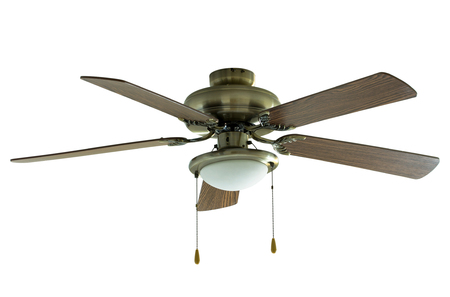 fan ceiling: ceiling fan isolated on white with clipping path Stock Photo