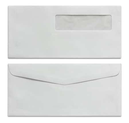 office documents: white envelope isolated on white with clipping path