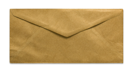antique background: brown envelope isolated on white background Stock Photo