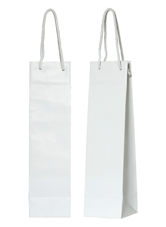 paper bag: white paper bag for wine bottles isolated on white with clipping path