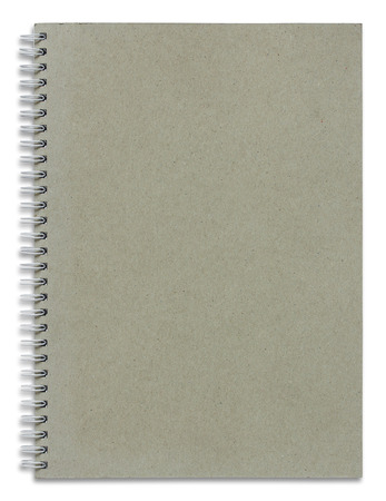business book: recycle spiral notebook cover isolated on white background