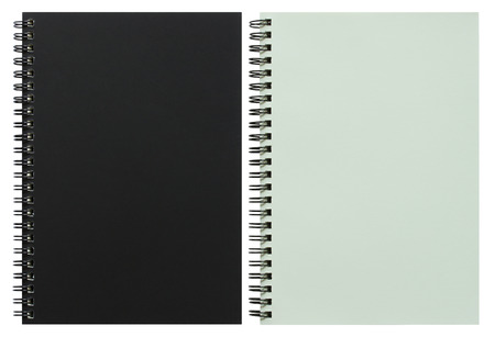 business book: black and white spiral notebook isolated on white with clipping path Stock Photo