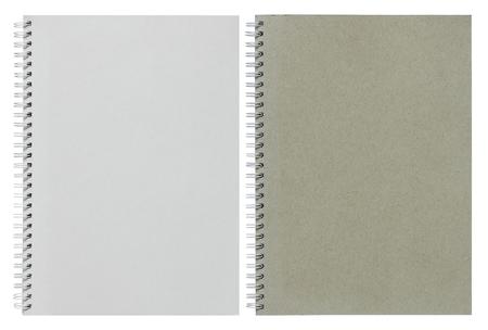 papel de notas: cuaderno de espiral gris y blanco aislado en blanco con trazado de recorte Foto de archivo