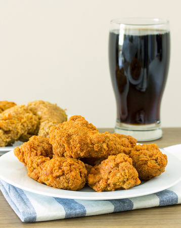 crispy: fried chicken with cola on dining table Stock Photo