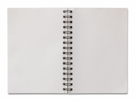 note books: open spiral notebook isolated on white with clipping path Stock Photo