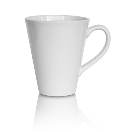 empty white cup isolated on white background