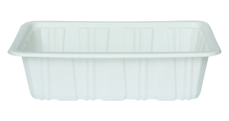 tupperware: white plastic food container isolated white with clipping path